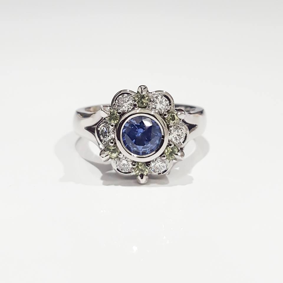 Handmade 18ct White Gold Ceylon Sapphire, Peridot and Diamond Dress Ring.