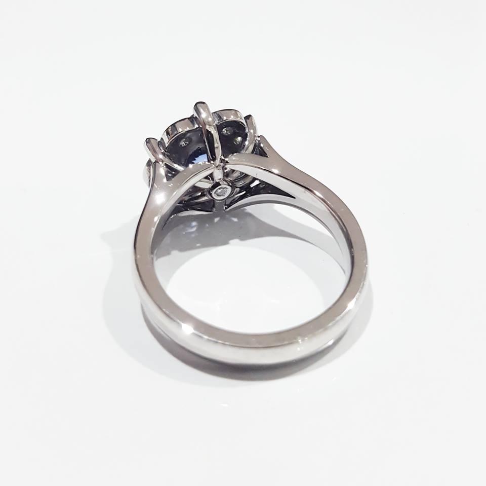 Diamond Detail on Handmade 18ct White Gold Ceylon Sapphire, Peridot and Diamond Dress Ring.