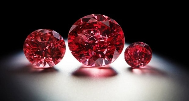 Natural red diamonds from the Argyle Mine - Australia