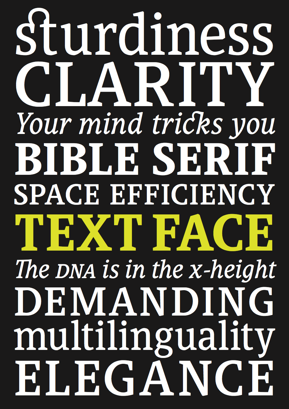 Bible Sans, Slab and Serif — 2K/DENMARK – TYPOGRAPHIC DESIGN
