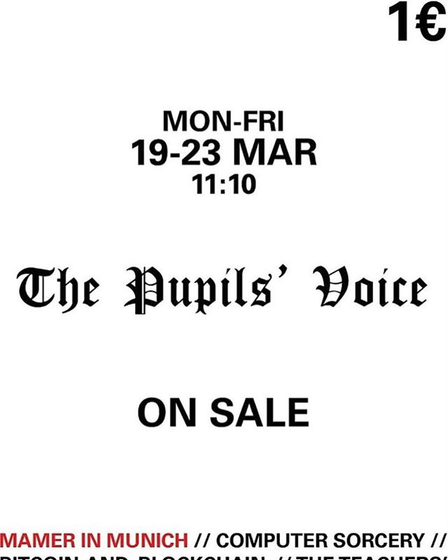 @thepupilsvoice will start selling newspapers tomorrow at 10.20 in front of the screen 😍 only 1€!