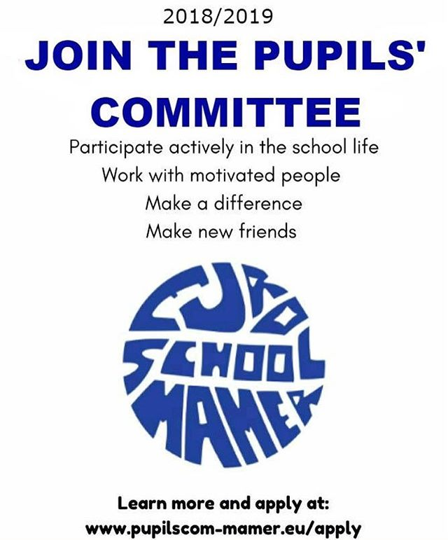 We hope that everyone has had a wonderful summer and a good entry to the 2018/2019 school year.  If you are interesting in joining this year's Pupils' Committee, you can now apply at:  www.pupilscom-mamer.eu/apply  Each candidate will be asked to prepare a very short speech at the elections which take place on the 19th of September in the Salle des Fêtes at 10:20  The Pupils' Committee represents all of the students in our school, and we are present at various meetings with the administration, representing the interests of the students. It can strongly be recommended to everyone who wishes to improve our school life and who wants to be a part of an amazing Pupils Committee family. (It also looks very good on your university application)  For more information check out our video about the PC. https://youtu.be/i_JwxvUJX4g  We will have an information meeting for the Class Representatives very soon, so stay posted!  If you have any questions, you're more than welcome to send us a message!