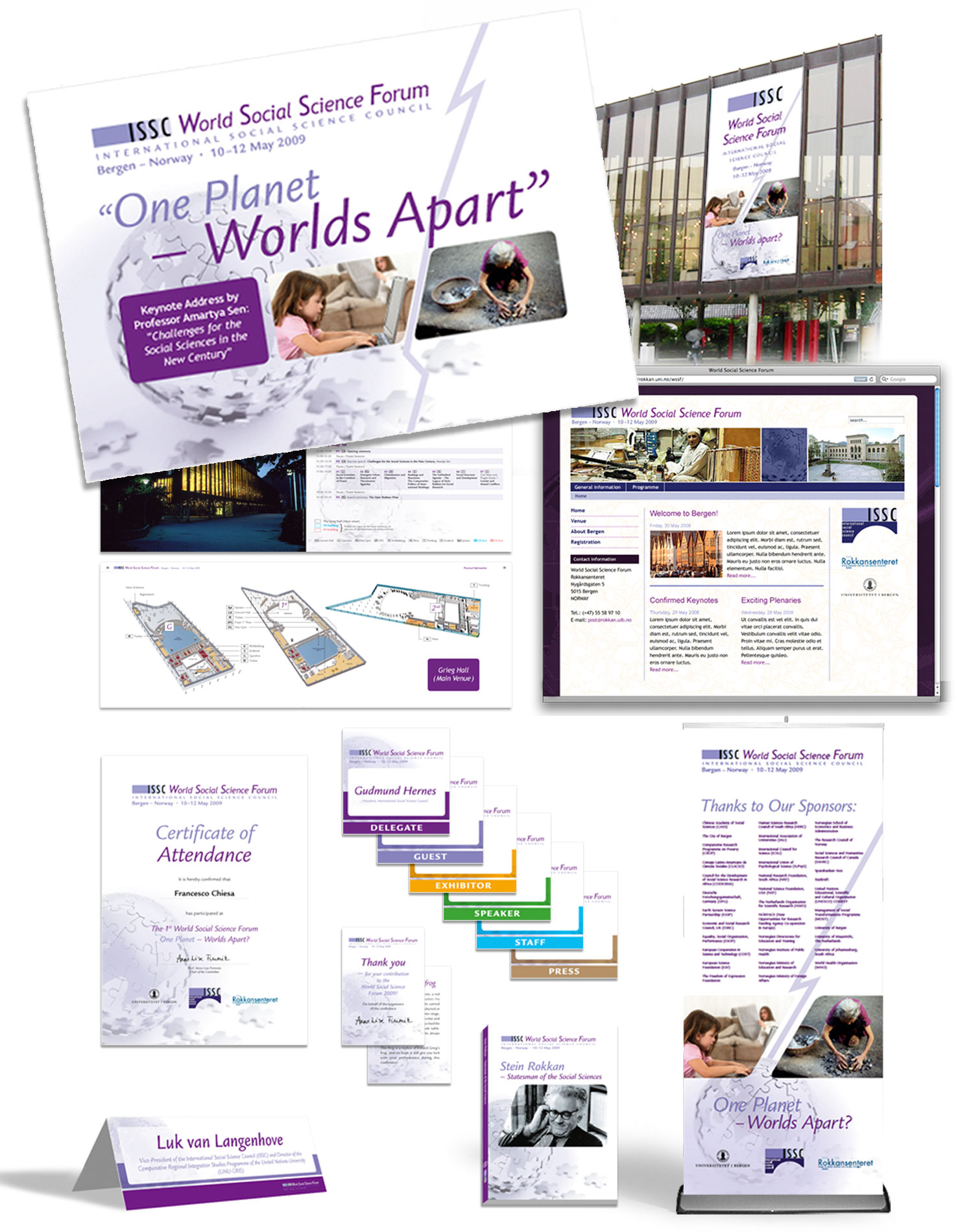 Marketing communications, ephemera and conference programme for World Social Science Forum, Bergen, 2009. Client: K&K