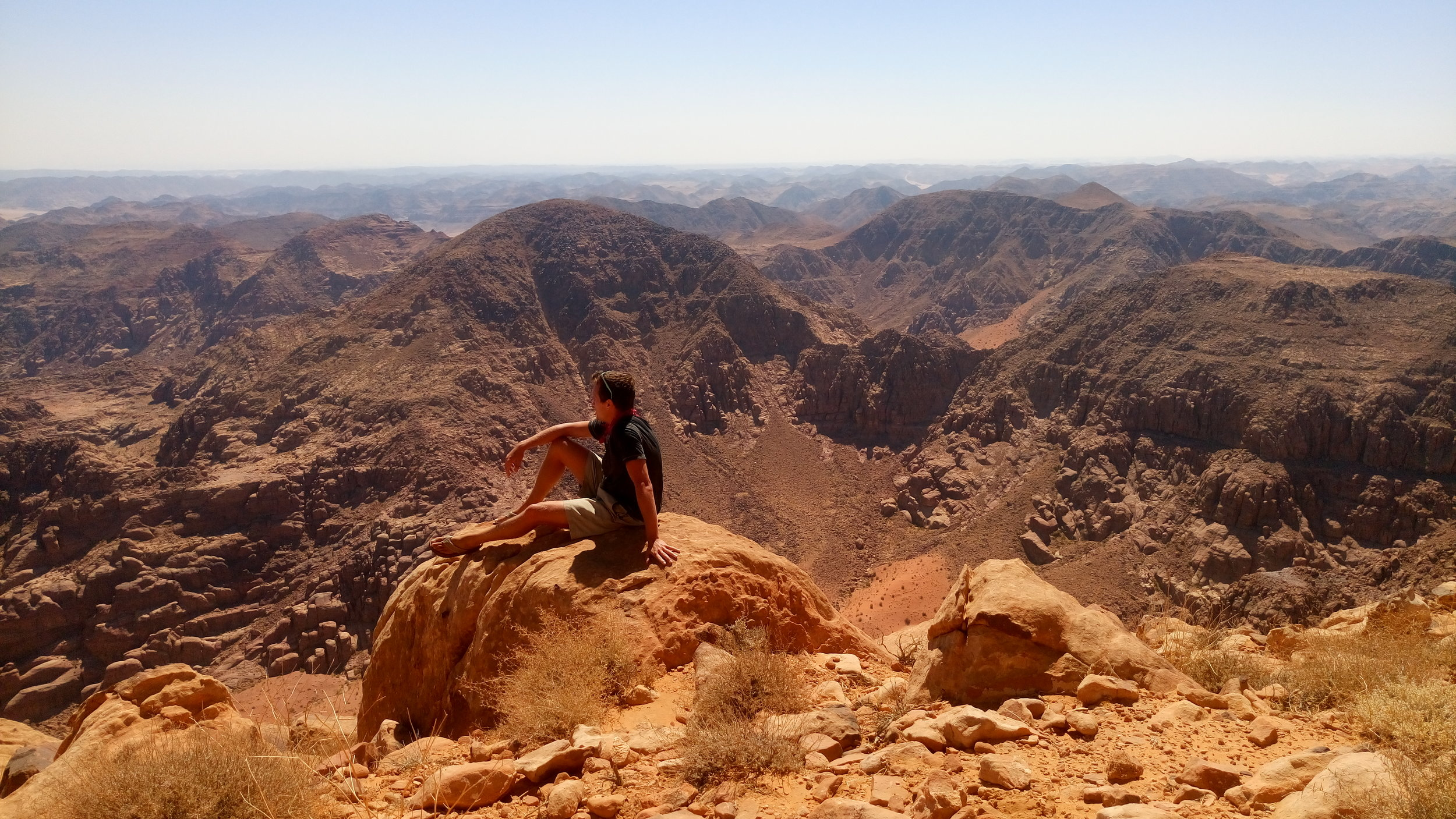 View from the highest point in Jordan. Saudi Arabia in the distance.