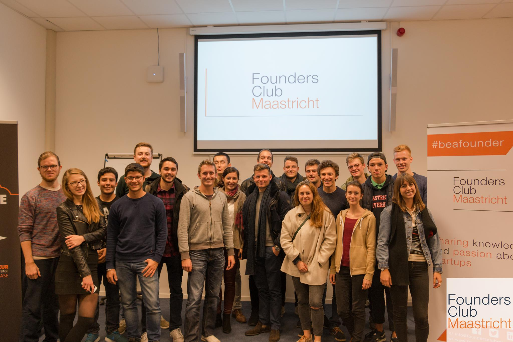 Discussion with international business students and future entrepreneurs at Maastricht University in Holland