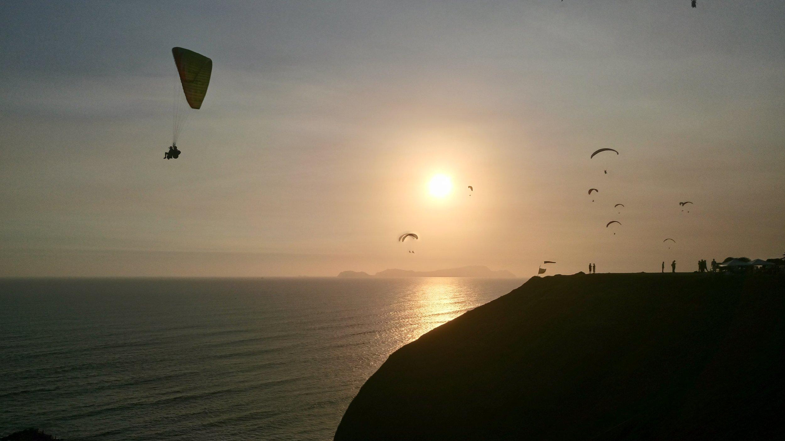 Paragliders in Lima, Peru.