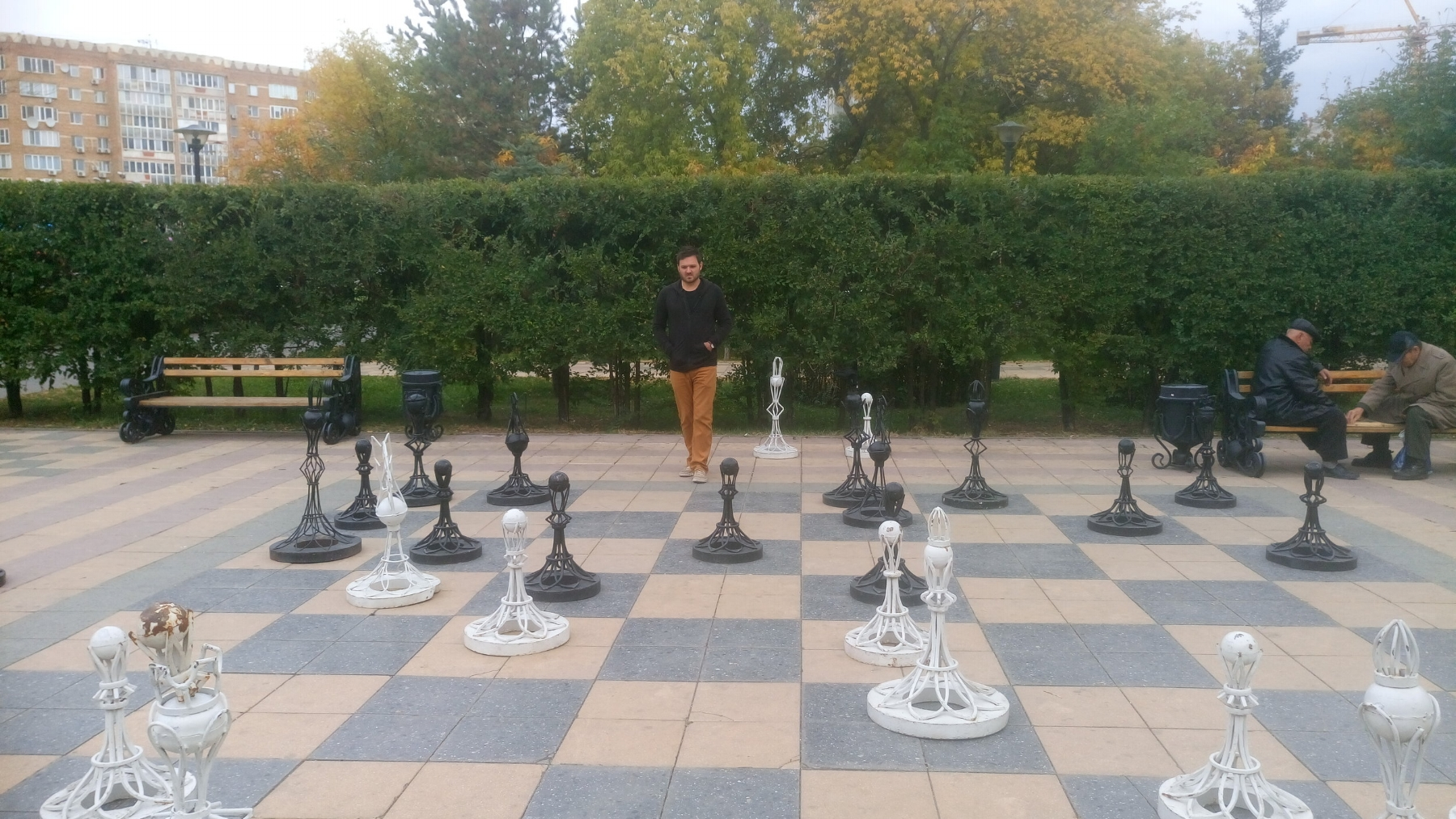 Playing my friend in chess, park in Astana, Kazakhstan