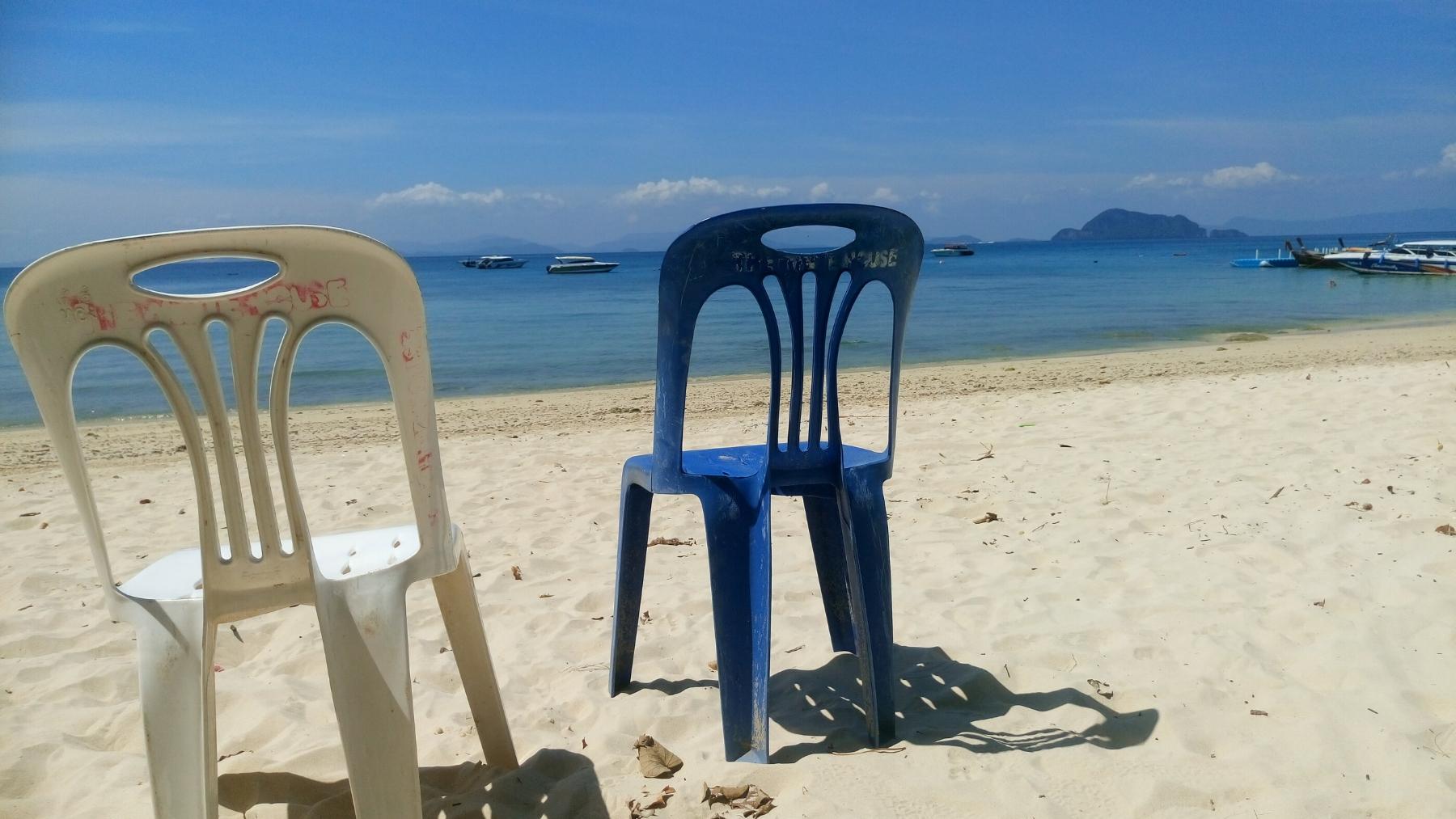 Phuket in the distance. Beach on Koh Yao Noi, Thailand