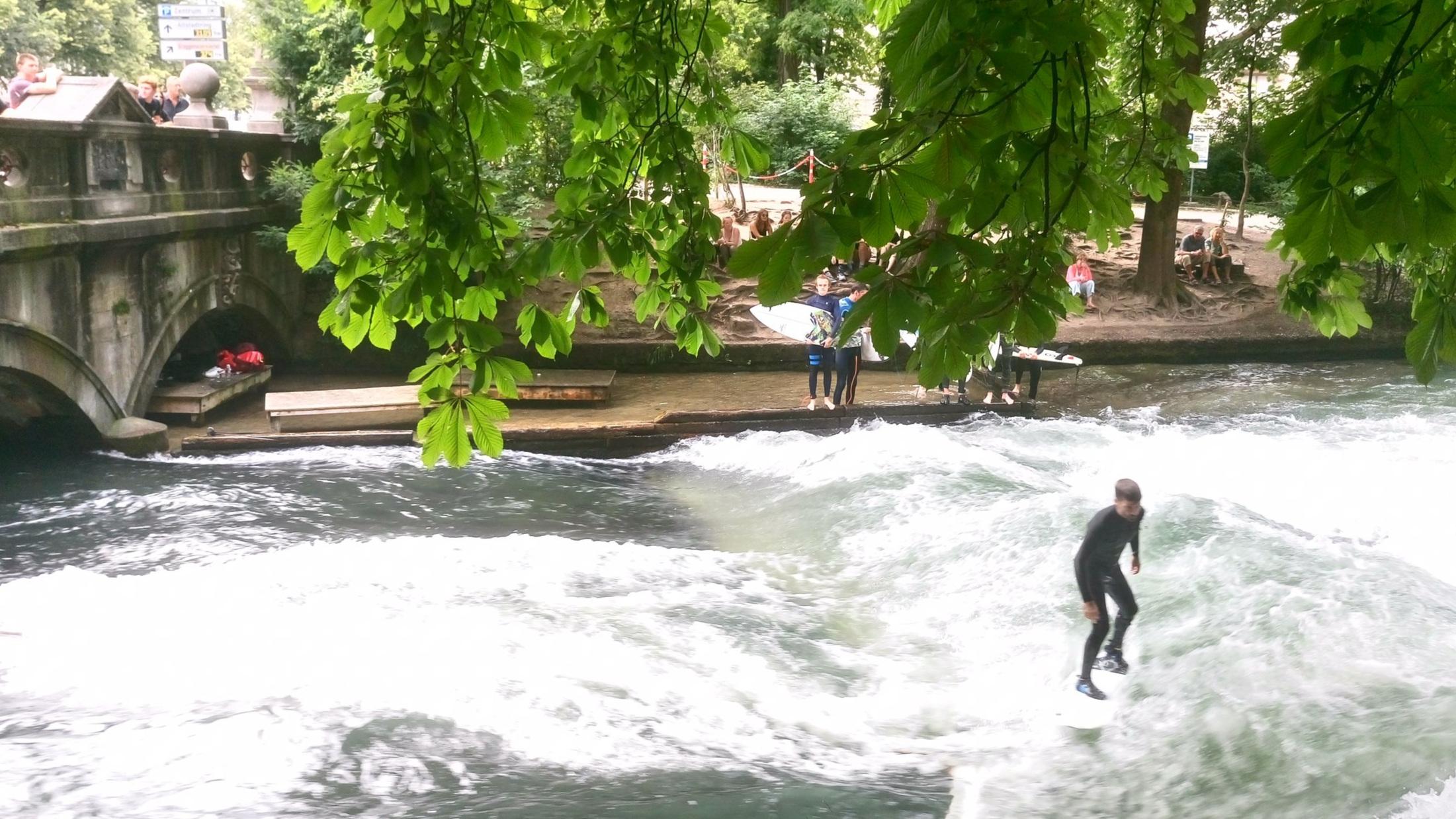 River surfing in Munich, Germany