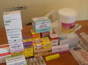 antibiotics sold at a typical uganda drug shop.