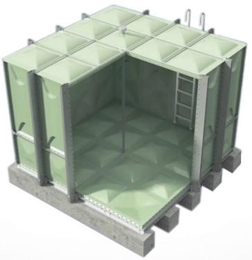 Estanque Modular - Tipo Lego, fácil de montar y ensamblarPlacas de resina de poliéster isoftálica insaturada y cumple con BS 3532Mantiene temperatura dentro estanqueRecomendado para uso en condiciones climáticas extremasDimensiones: 1 m3 a 600 m3