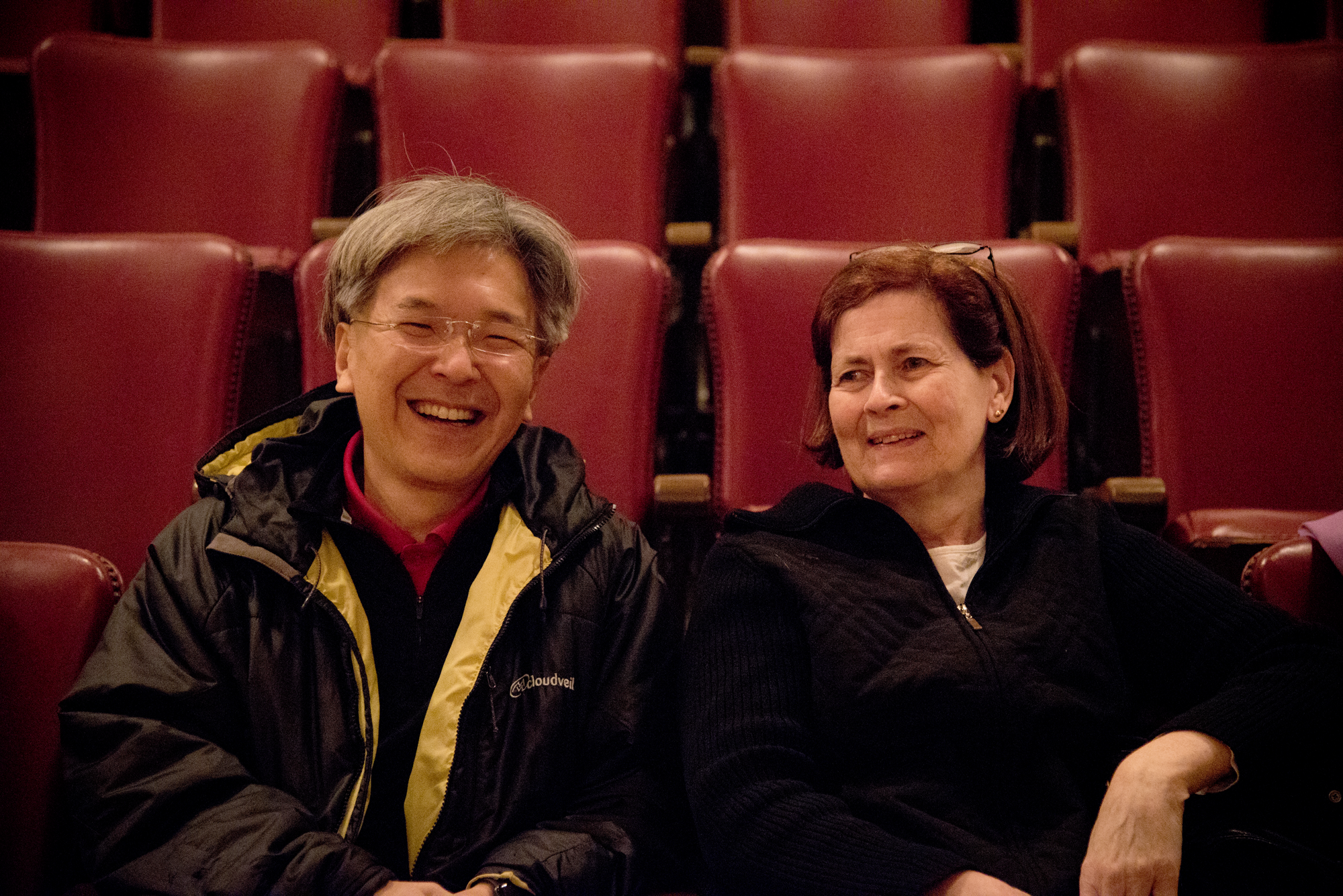 Conductor Yoichi Udagawa before rehearsal with violinist Priscilla Hunt. She has been a member of the MSO for over 44 years!