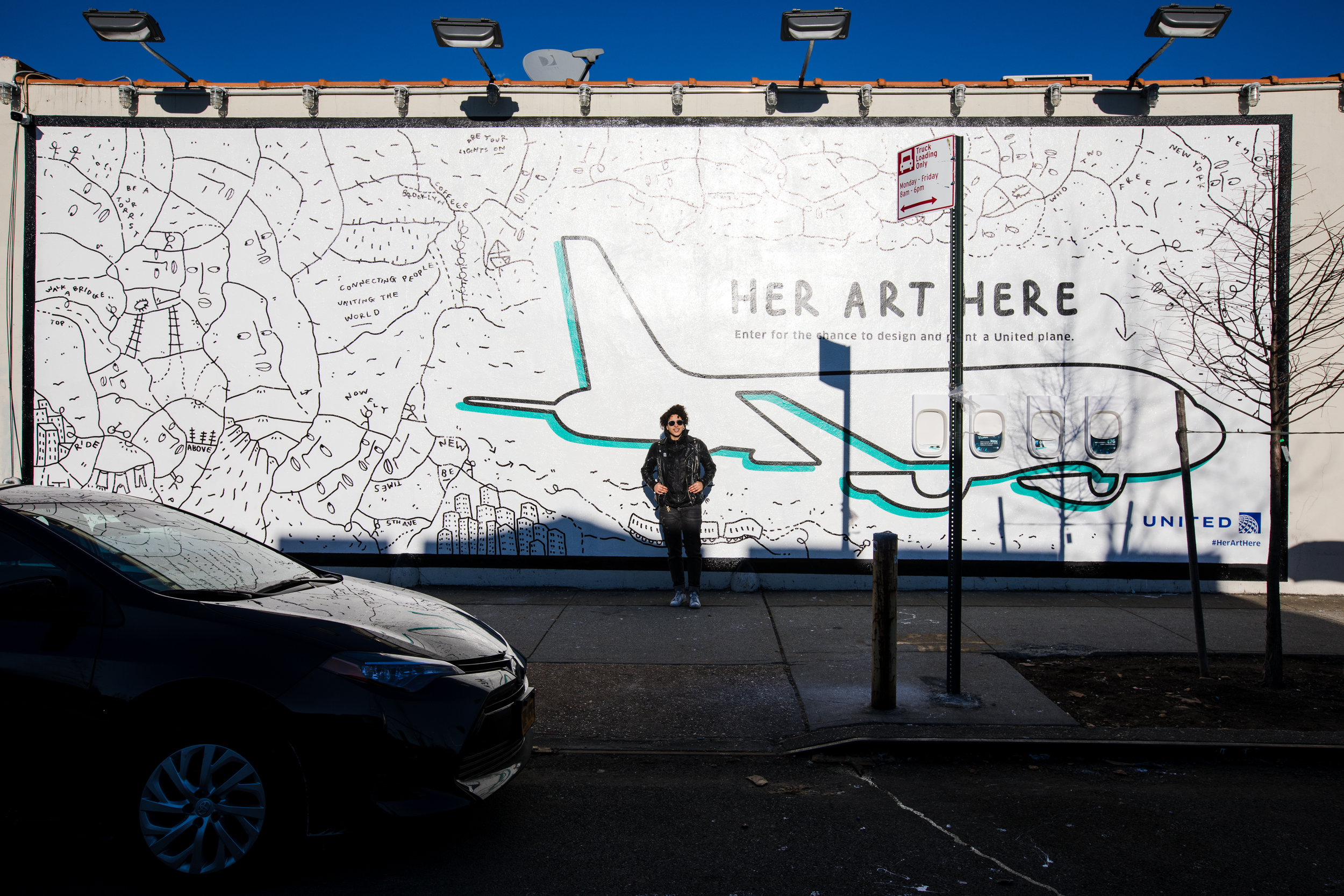 [Her Art Here] Shantell Martin x United Airlines - March 2019 - 38 Norman Ave, Brooklyn, NY
