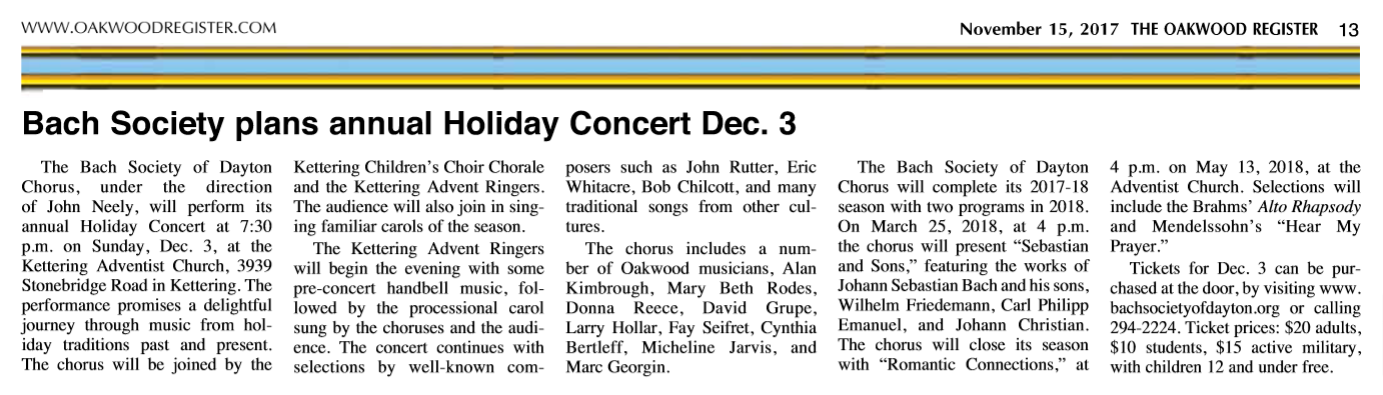 Bach Society plans annual Holiday Concert