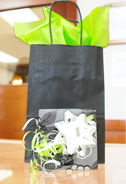 Our staff can wrap your gift with colourful papers and ribbon, or in adorable bags with pretty embellishments.