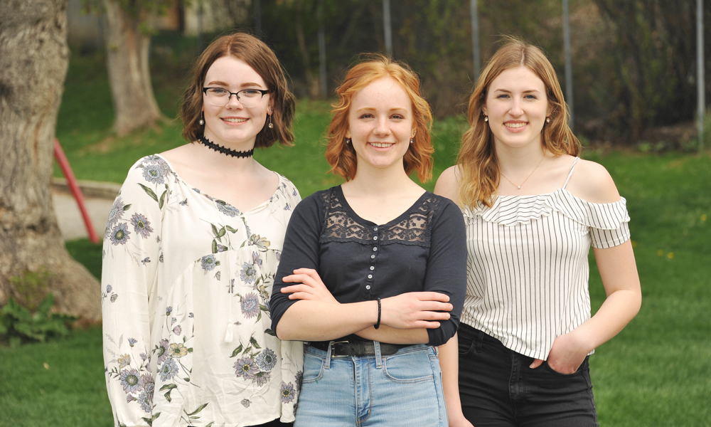 2018 grads: Michaela Eckersley, Anna Ruoss and Andrea Byford— Photo shoot by Cassidy Shankowsky,  Cranbrook Photo