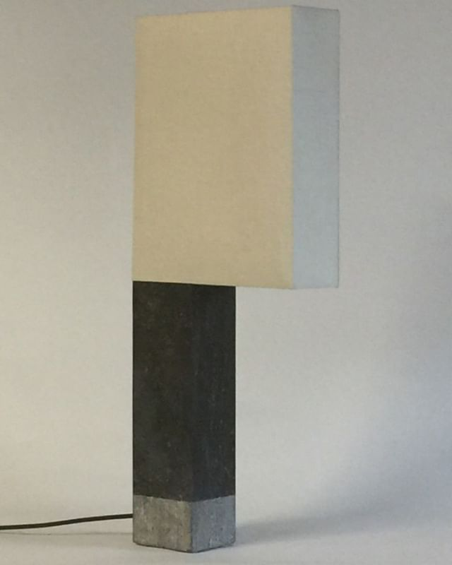 "Table lamp 'Hammer"" from our collection. Bluestone and shade in silk."