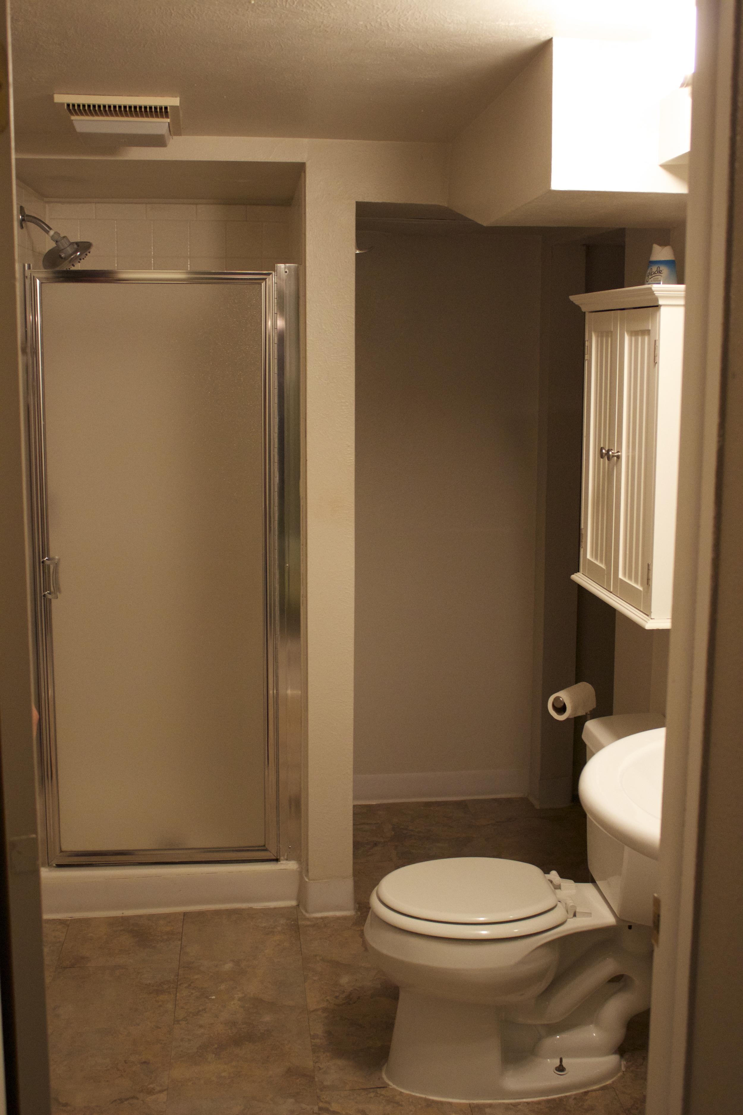 Bathroom down hallway to right