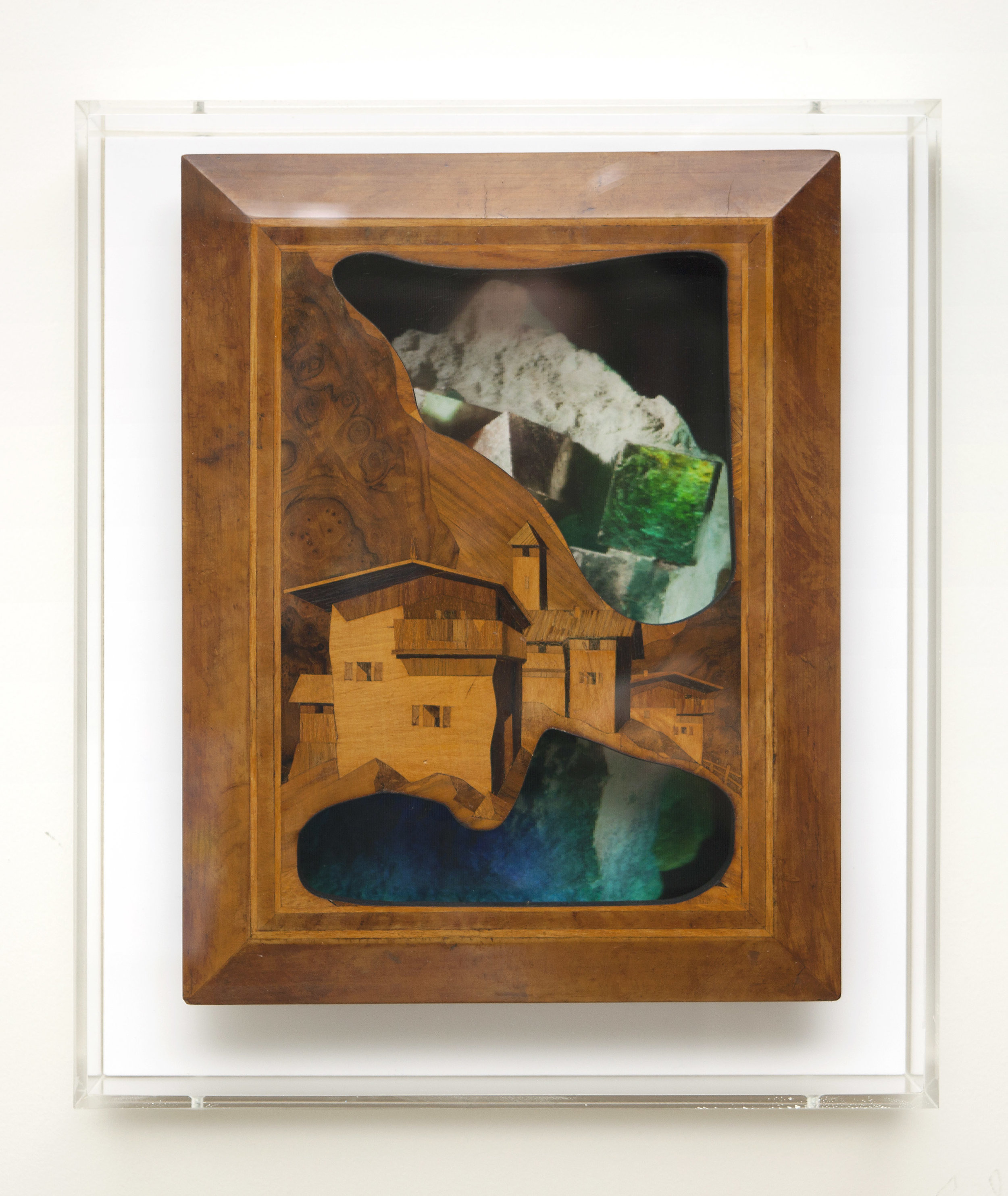 """View from below  Laser-cut marquetry over 3D lenticulars in custom acrylic box. 12x14"""""""