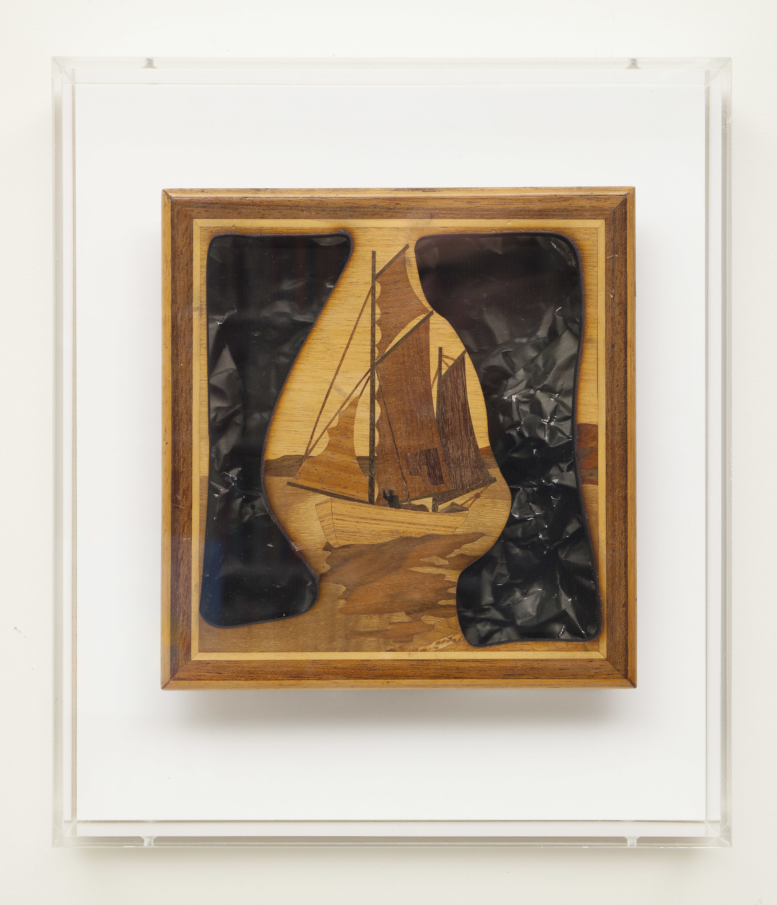 """Somewhere of the coast (Bas Jan Ader)  Laser-cut marquetry over 3D lenticulars in custom acrylic box. 12x14"""""""
