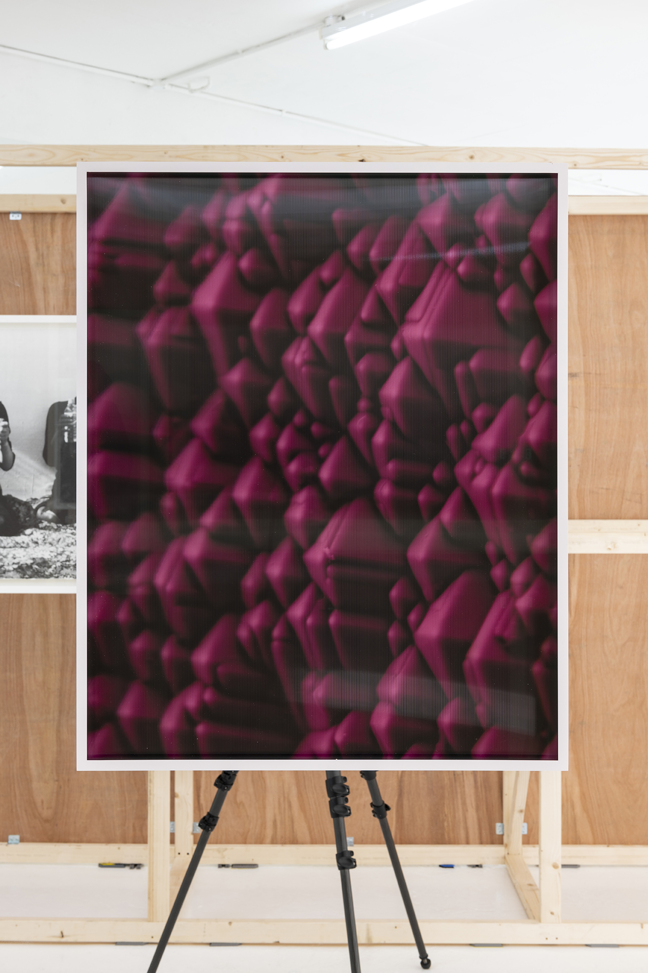 Silicon Valleys x2500 (false colour pink).  Hung on mirror as part of  Light, Observed.