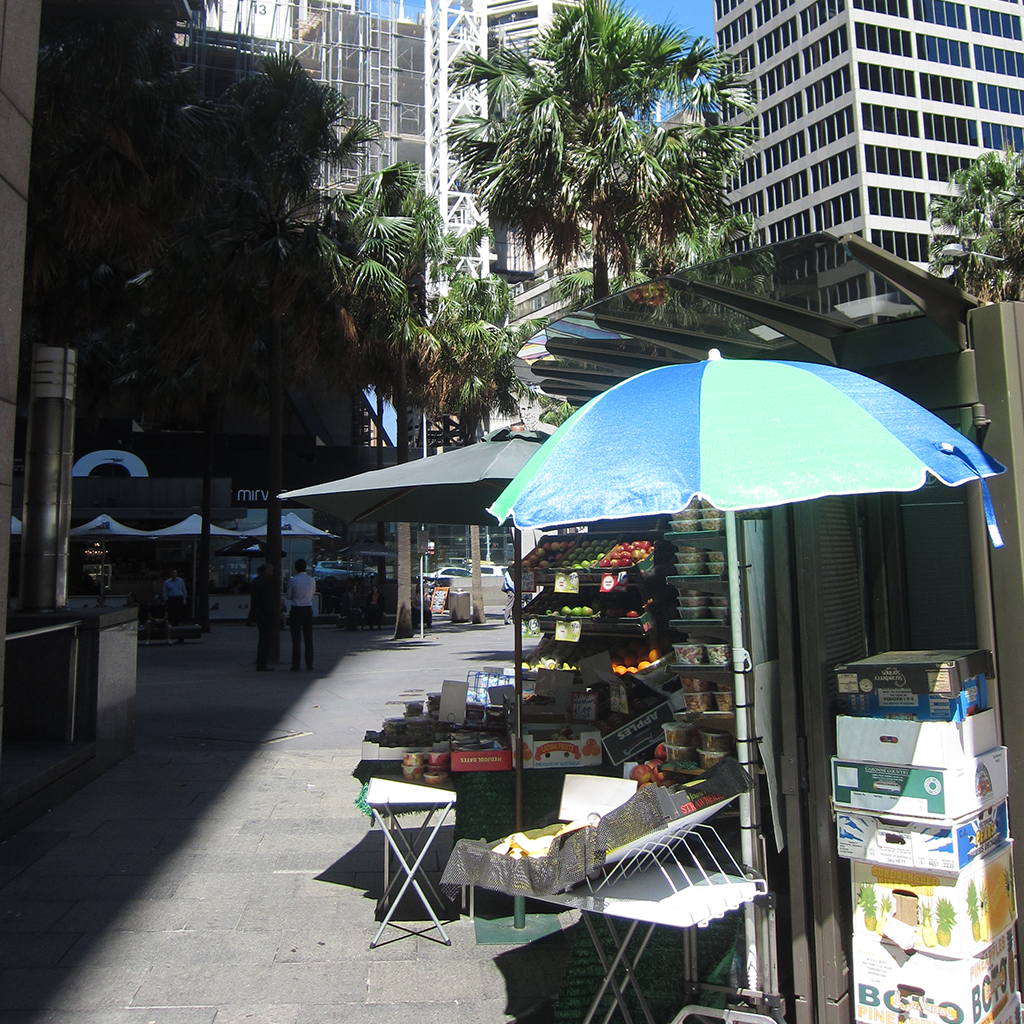 Very small to large, the size of a business within a tower community isn't prescribed. Markets in Melbourne include micro business that connect the spaces in-between apartment towers.    Melbourne, Australia
