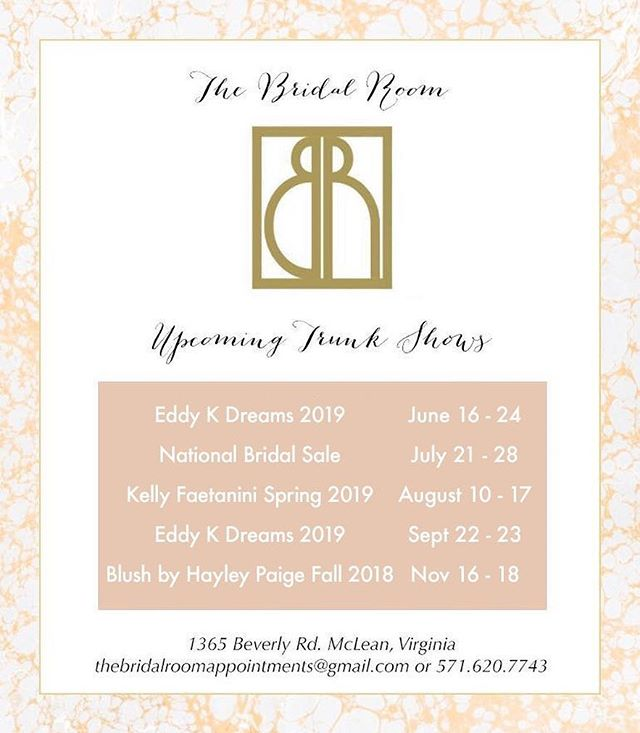 Mark your calendars! Enjoy 10% off your gown when you purchase from one of our trunk shows, and 30-50% off samples during the National Bridal Sale in July. Note that we are almost out of spots for our @eddyk_bridal show this weekend ✨💕