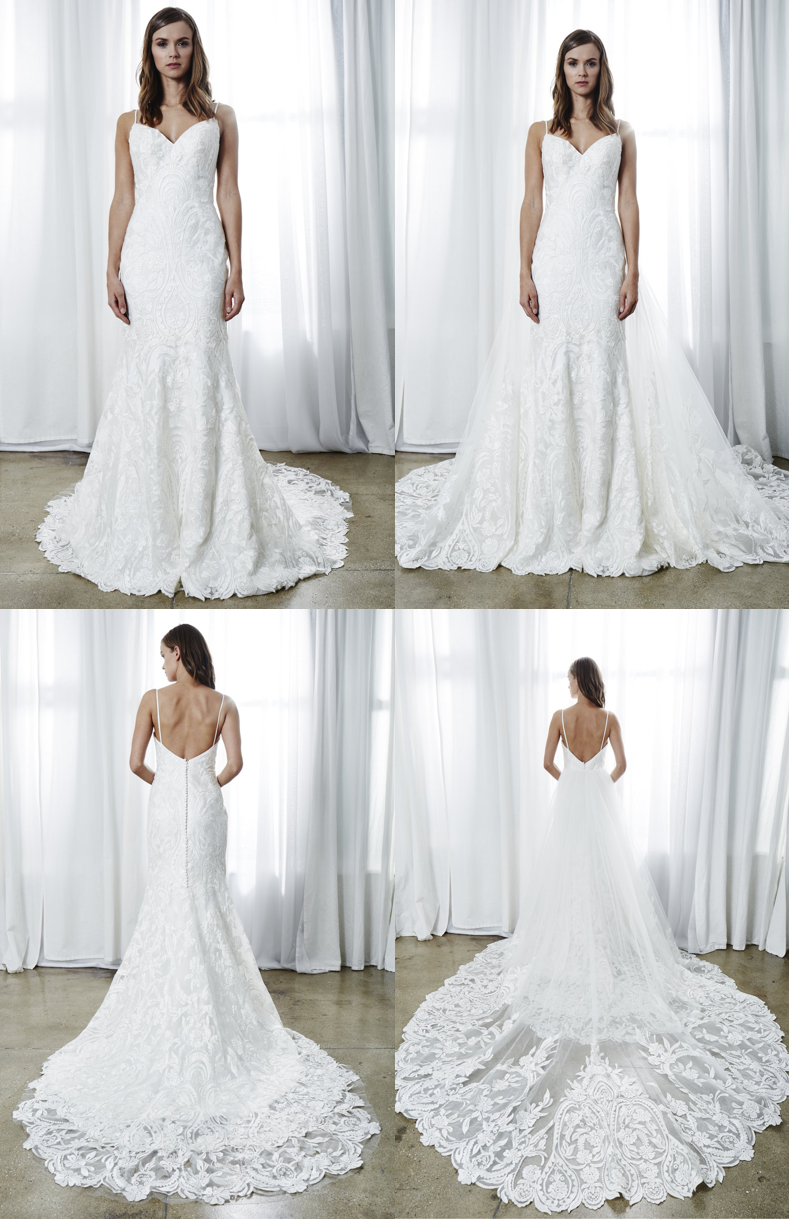 "Kelly Faetanini ""Giselle"" – A removable tulle train with a lace hem to accentuate the dresses hem. Kelly describes it best by saying ""feel like a A-list celebrity walking down the red carpet (ahem, I mean wedding aisle)"""
