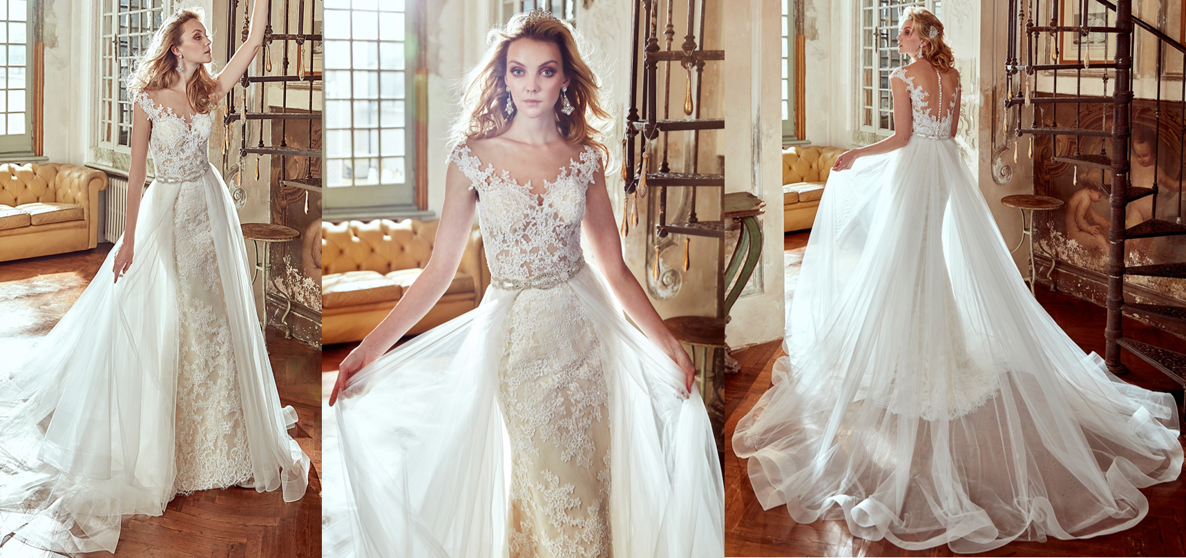 Nicole Spose 17116 – A removable tulle train with a classic beaded belt on this gorgeous illusion neck fit-to-flare gown. Put these two together for a classic elegant look with a little glamour and sass!