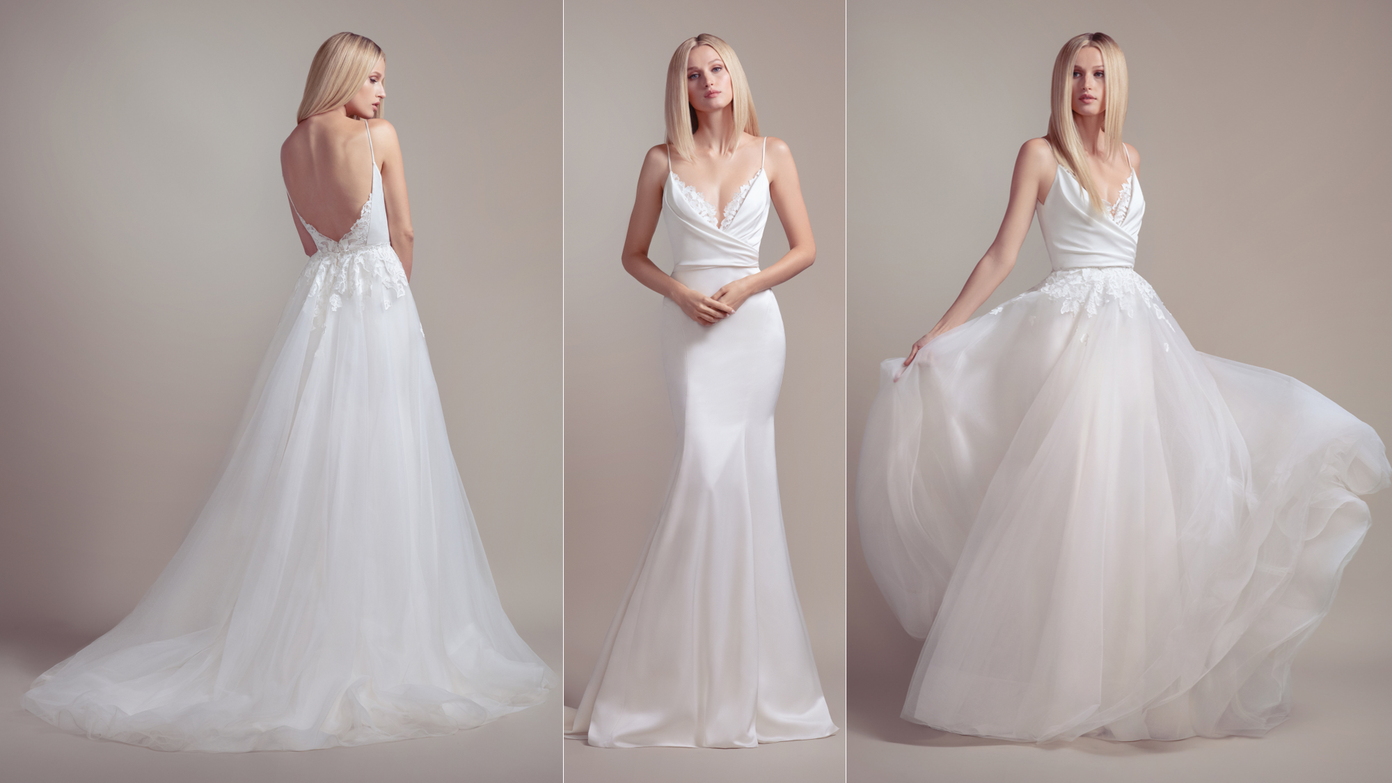 "Blush by Hayley Paige ""Fawn"" – This overskirt turns this gorgeous fit-to-flare gown into an A-line dream! The lace trim is so unique and gorgeous! Perfect for any bride that wants to be a princess – but also classic and elegant."