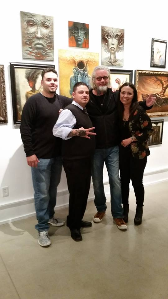 from left; Santa Fe artist Michael E. Martinez, Keep Contemporary owner Jared Trujillo, Victor Whitmill, Corinne Whitmill