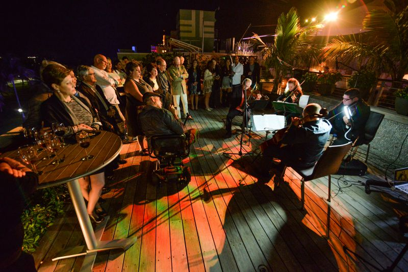 The Amernet Quartet performs music of Holocaust composers, at a JAHLIT Conference - on the Ocean View Deck of The Betsy Hotel