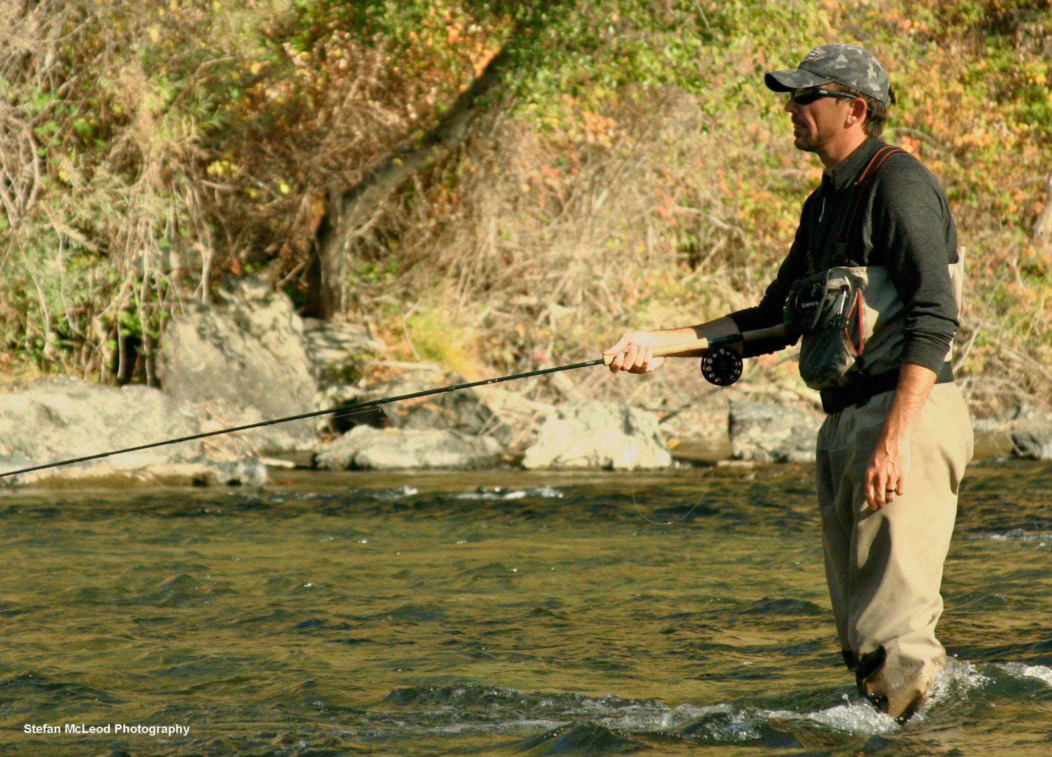 Morgan Thalken swinging trout water.