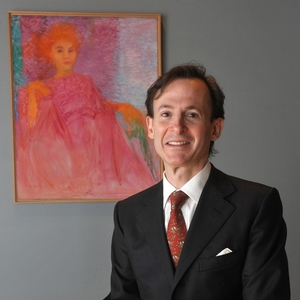 Pianist and author Bruce Levingston in front of Marie Hull's 'Pink Lady.'  Photo:Rick Guy