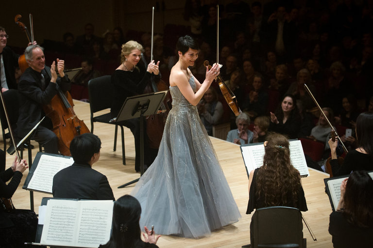The violinist Anne Akiko Meyers at Carnegie Hall in 2014. Credit Kevin Hagen for  The New York Times