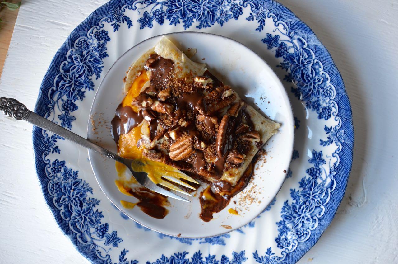 Gluten free dairy free Pumpkin Chocolate Crepe Recipe