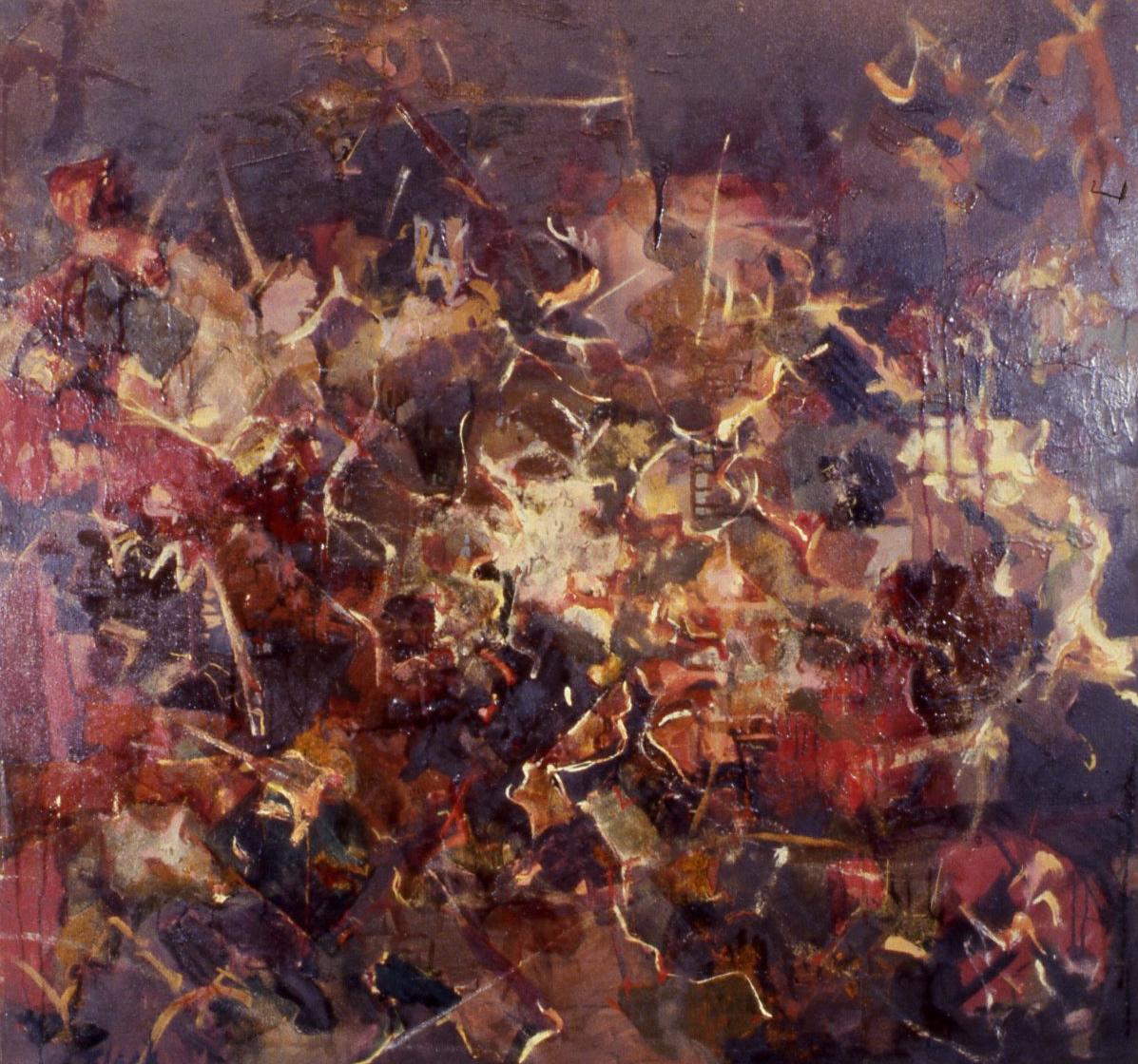 "Galaxies: Dark Brown Abstract, 1951, 40x42"""