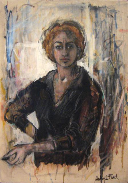 "Self-Portrait Holding Charcoal Stick, 1956, 40x28"""