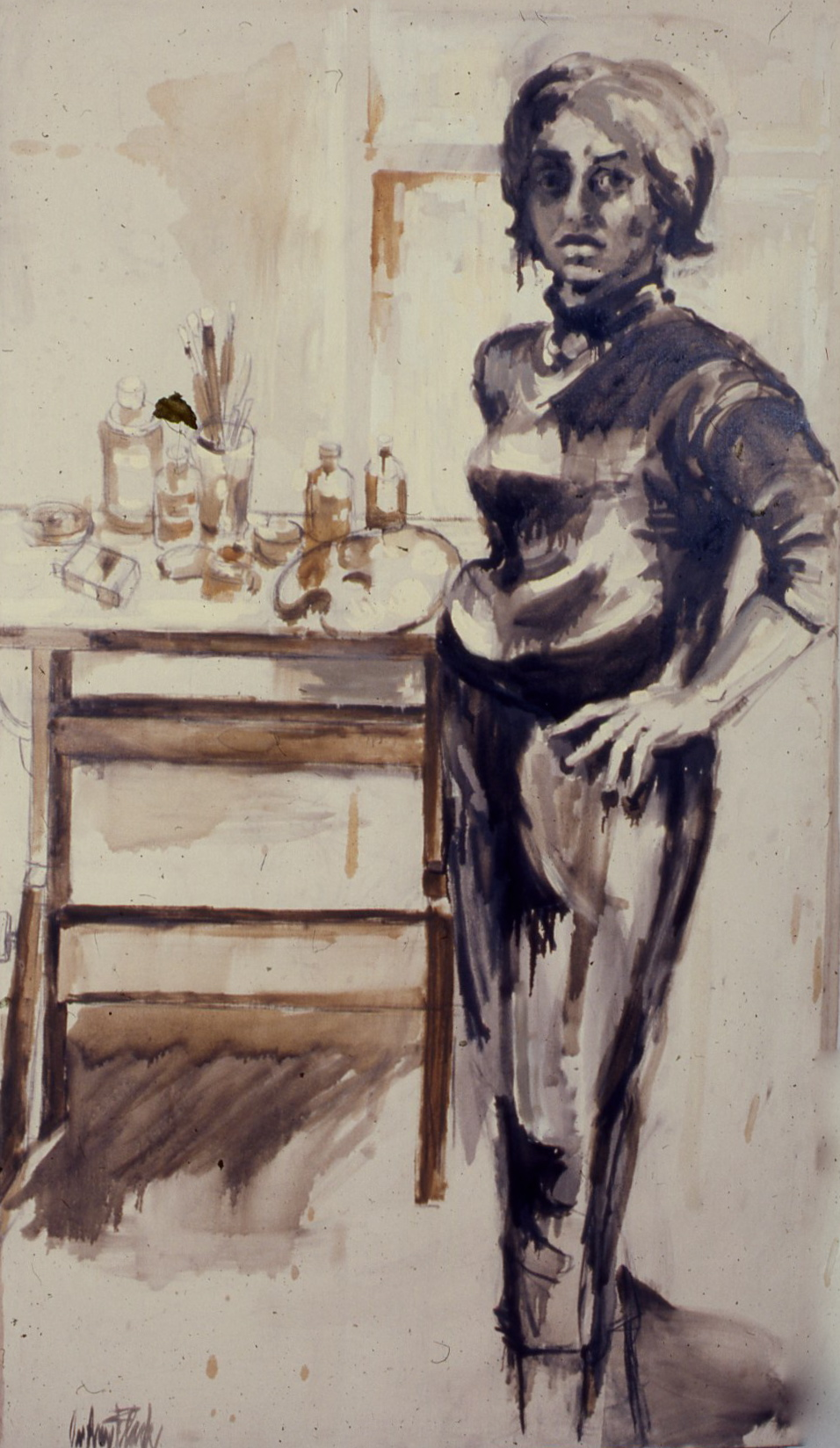"""Self-Portrait with Drafting Table, 1958, 72x41"""""""