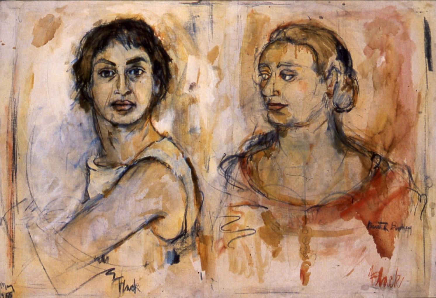 """Self-Portrait with Anita, 1955, 25x36"""""""