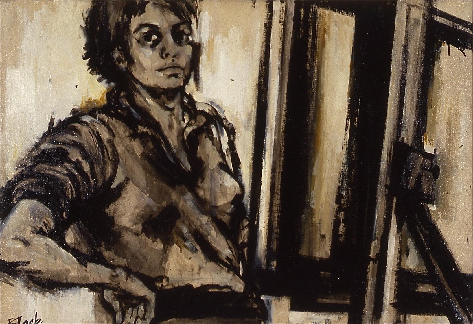 Self-Portrait at Easel: For Franz Kline, 1958
