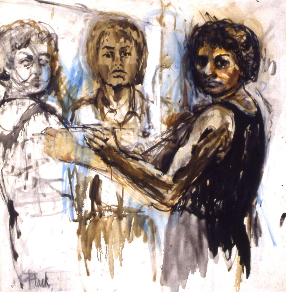 "Triple Self-Portrait, 1958, 42x40"""