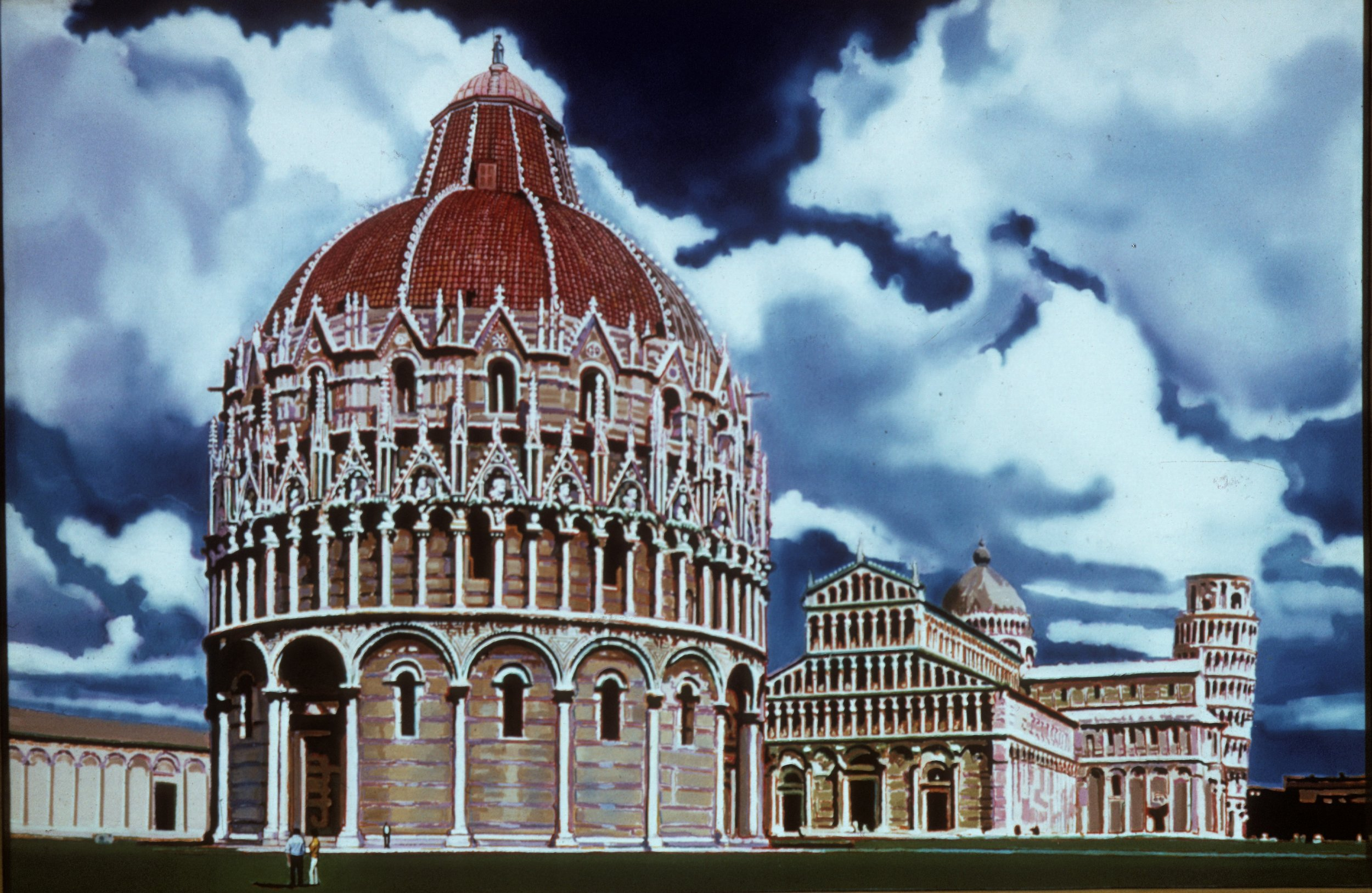 "Piazza of Miracles, 1971, 48""x72"""