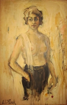 """Self-Portrait with Flower, 1953, 45x29"""""""