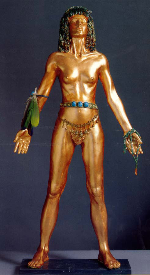 Receiver of the Sun, 1989-90, Polychromed resin with objects, height 33 1/2""