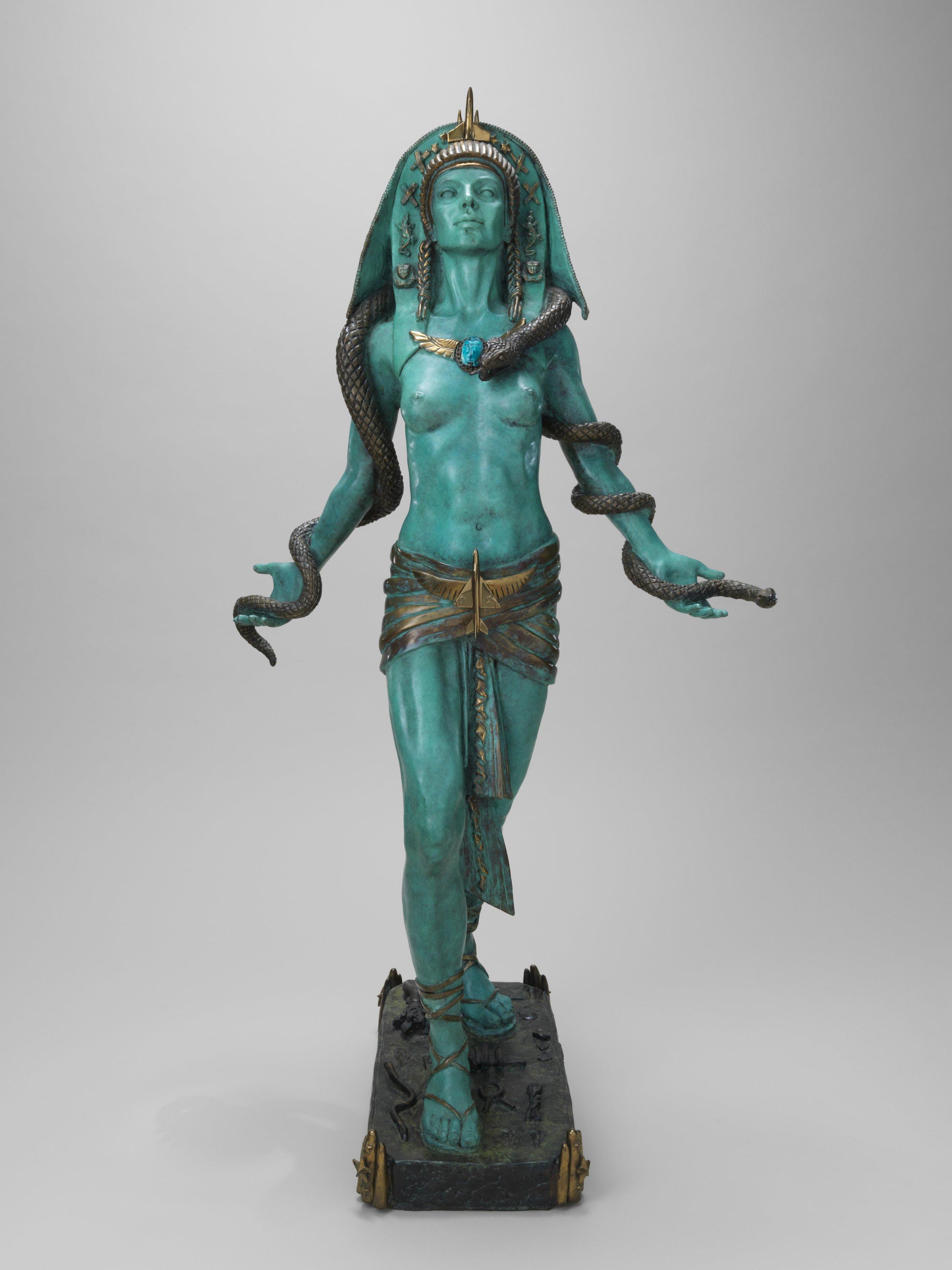 "Egyptian Rocket Goddess, 1990, Patinated bronze, height 42"""