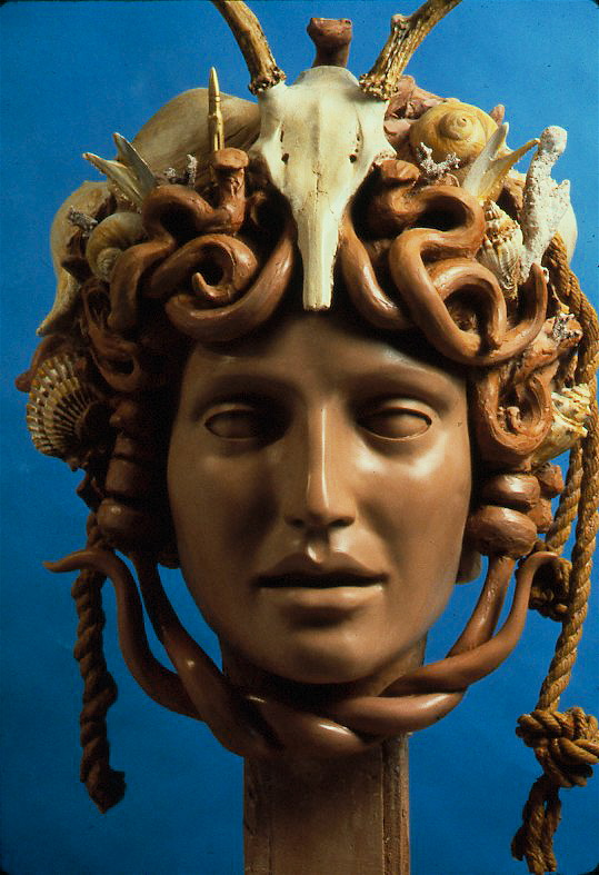 Colossal Head of Medusa, 1990, Polychromed terra-cotta-colored fiberglass, height 33""