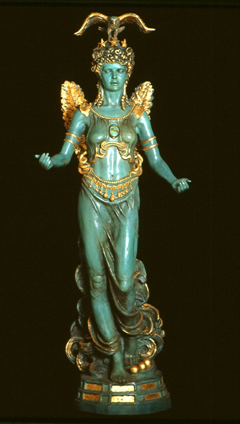 American Athena, 1989, Patinated bronze with gilded ornament and mother of pearl, height 37""