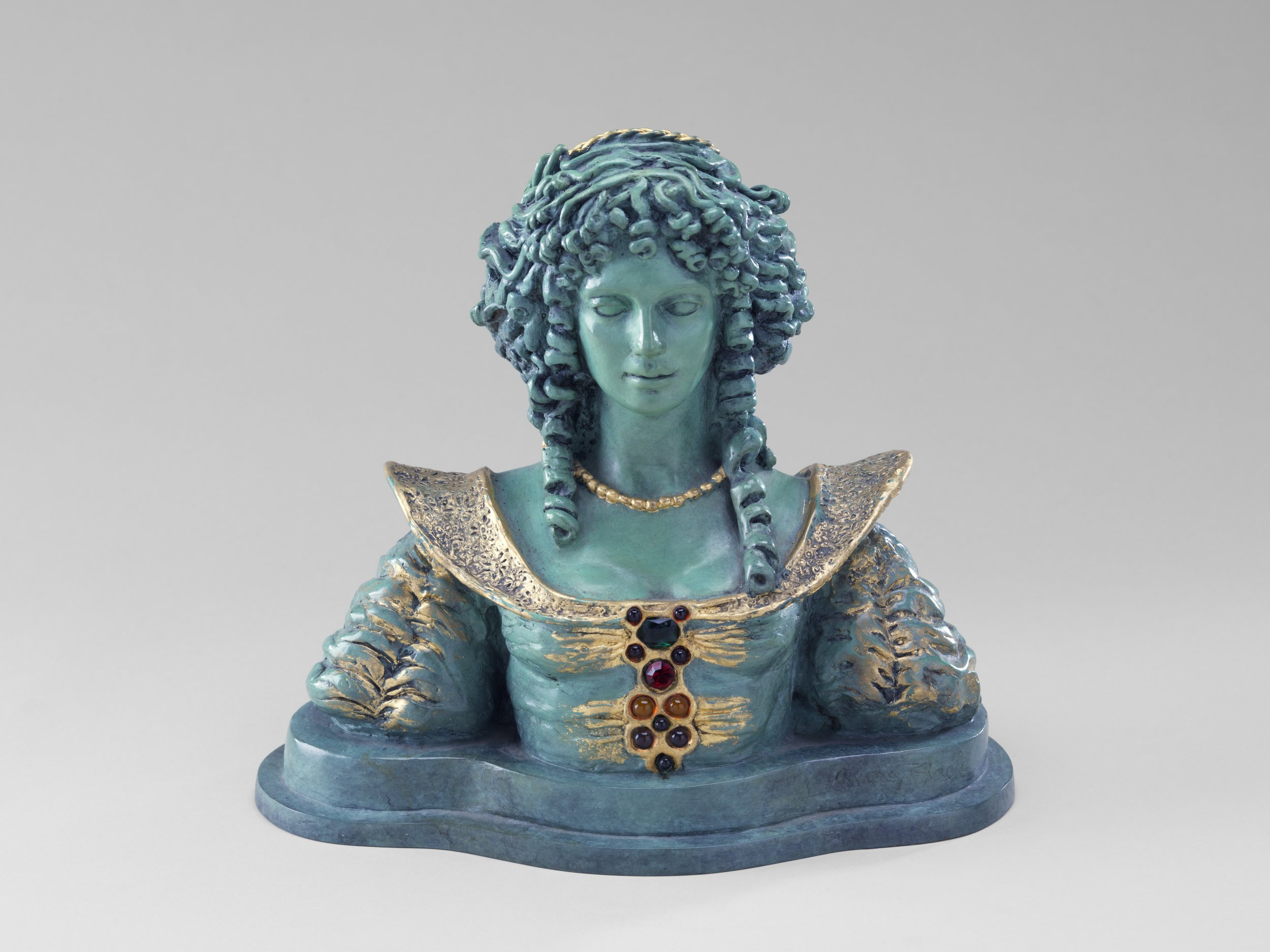 Queen Catherine, 1998, Bronze with 22k gold leaf, height 9 1/4""