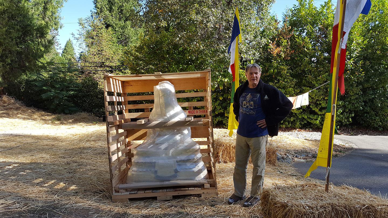 Founding Teacher John Travis with newly arrived Amitabha Buddha